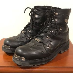 Harley Davidson Black Leather Biker Men 11.5 Boots